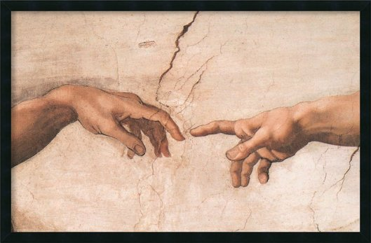The+Creation+of+Adam+Detail+I+by+Michelangelo+Buonarroti+Framed+Painting+Print