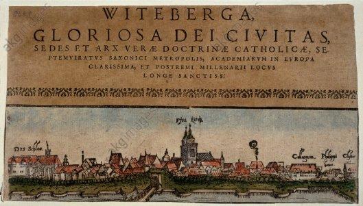 Wittenberg, Stadtansicht / Holzschn. - Wittenberg / Coloured woodcut / c. 1558 -